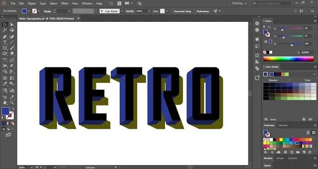 Retro Text Effect in Adobe Illustrator