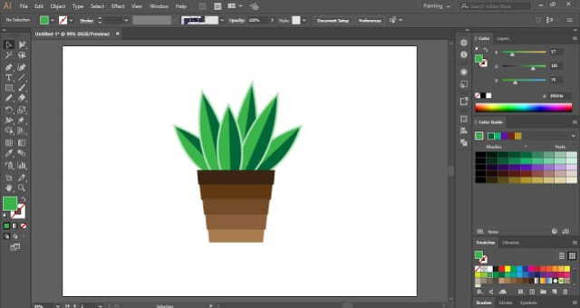 How to create Flat Potted Plant in Adobe Illustrator?