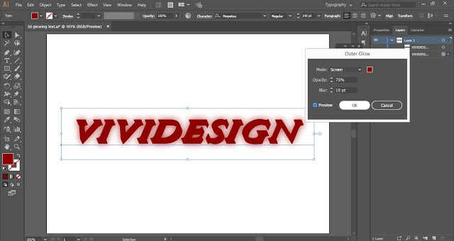 3D Glowing Text in Adobe Illustrator