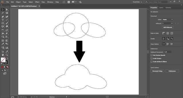 use the shape builder tool to merge the shapes