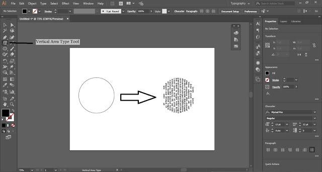 Type Tool in Adobe Illustrator