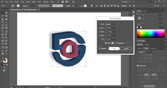 5G Glossy 3D Logo in Illustrator
