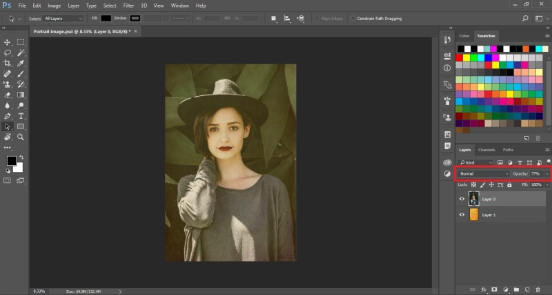 Normal Blending Mode with reduced Opacity