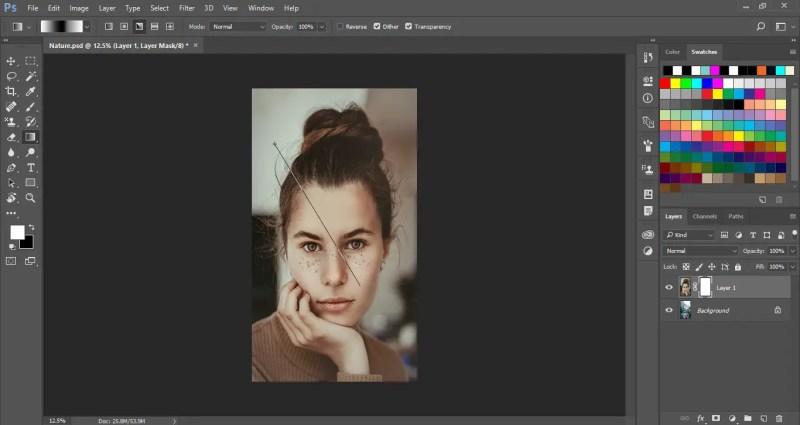 Drag the gradient slider on the image