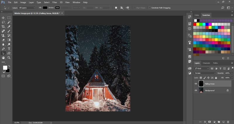 Falling Snow Effect in Photoshop