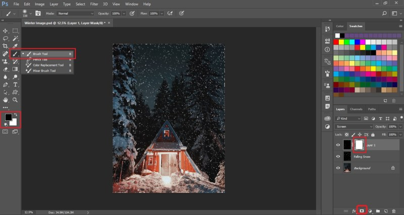 Create the Layer Mask and select the Brush Tool