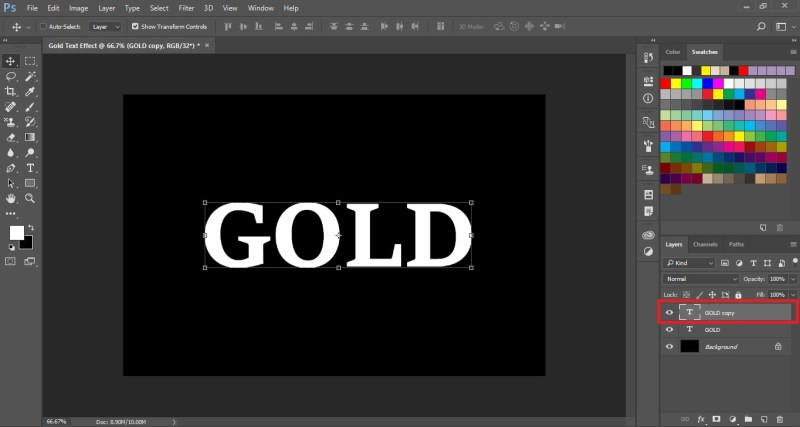 Create a copy of the Gold text layer