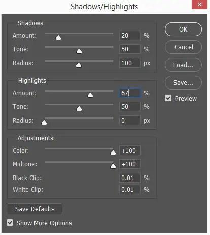 Shadows/Highlights dialogue box