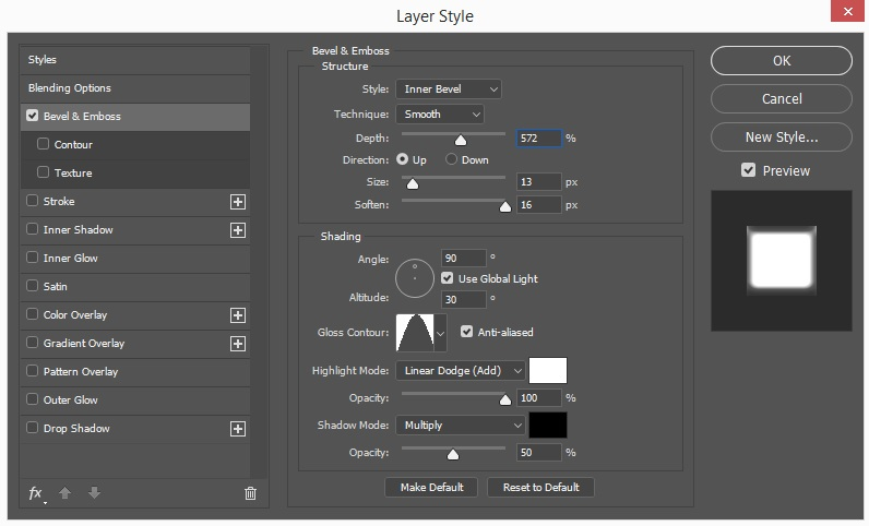 Bevel & Emboss Layer Style