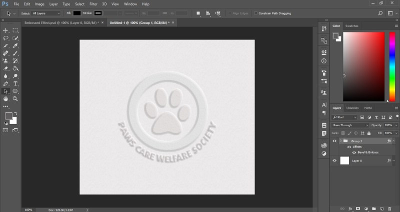 Emboss Effect in Photoshop
