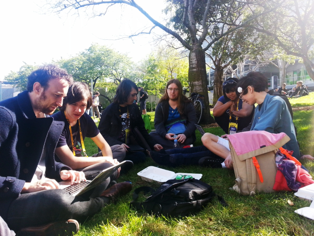 Alexander Martin, Damian Sommer, Leisha Riddel, Taylor Bai-Woo and friends at Yerba Buena Gardens