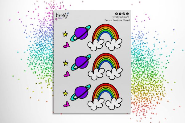Rainbow Planet Stickers | Deco Stickers, Deco Planning Stickers, Rainbow Planet, Star, Heart, Hand Drawn Stickers, 2 sheets!