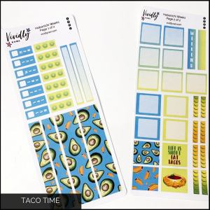 Taco Time Hobonichi Techo Weeks Weekly Kit | Hobonichi, Sticker Kit, Weeks Stickers, Weekly Kit, Weather Icons, Taco, Mexican Food, Tuesday