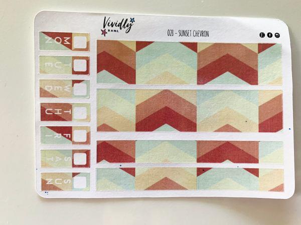 MINI KIT | Sunset Chevron Bold Colors Hobonichi Techo Weeks Weekly Kit | Hobonichi, Sticker Kit, Weekly Stickers, Weekly Kit, Cheap Hobo
