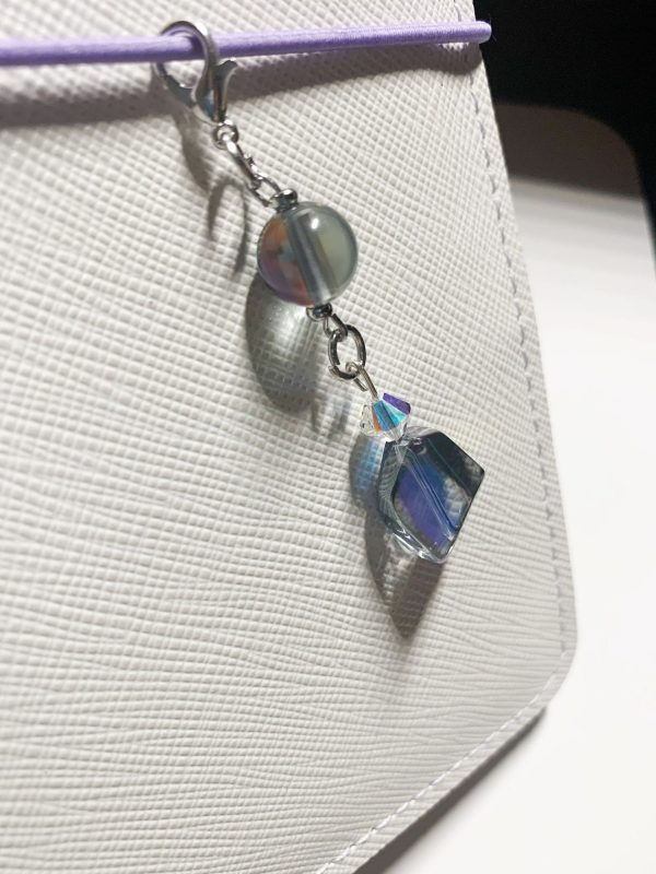 Moonstone Planner Charm   Dangle, Lobster Claw Charm, Witchy, Blue, Black, Purse Charm, Clasp, Planners, TNs, TN Charm, Travelers Notebook