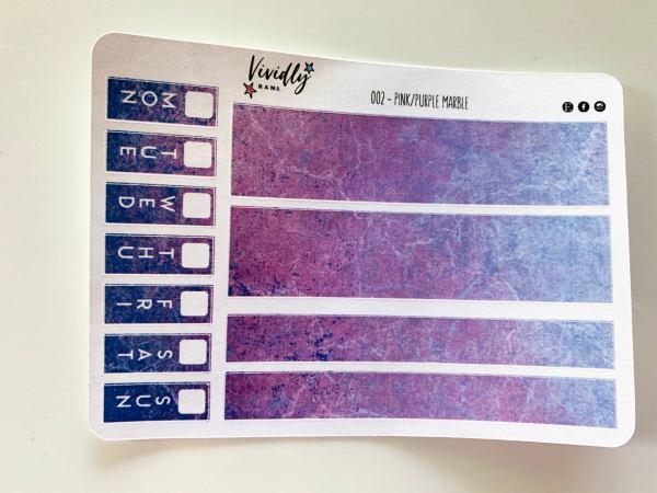 MINI KIT | Pink/Purple Marble Hobonichi Techo Weeks Weekly Kit | Hobonichi, Sticker Kit, Weeks Weekly Stickers, Weekly Kit, Cheap Hobo Kit