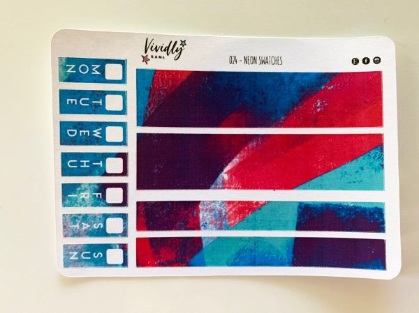 MINI KIT | Neon Swatches Bright Colors Hobonichi Techo Weeks Weekly Kit | Hobonichi, Sticker Kit, Weekly Stickers, Weekly Kit, Cheap Hobo