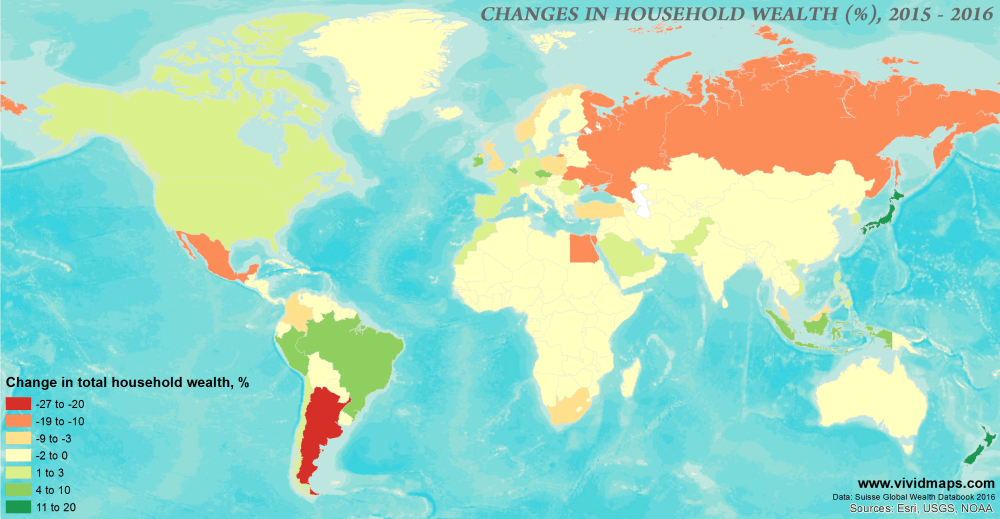 Change in total household wealth, %