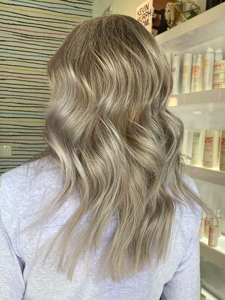 grey covering to blonde vivid rose salon