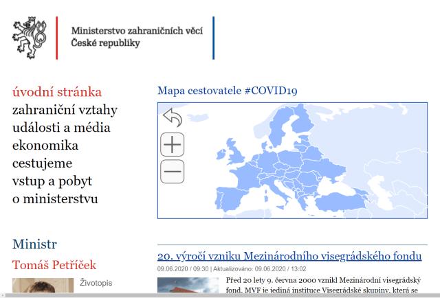 Mapa del Viajero Cancillería Checa