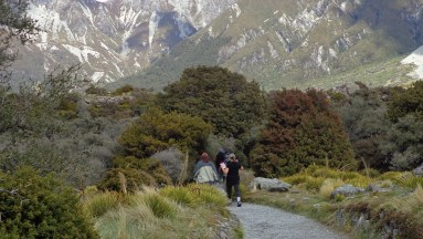 Walking (and skyping) at Mt Cook