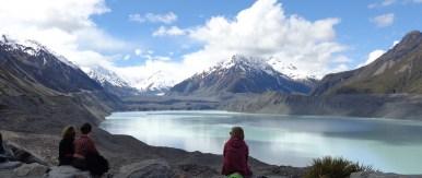 Tasman glacier in far distance, and lake at end of the glacier