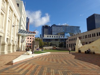 Square looking towards library. Town Hall on left and City gallery on right