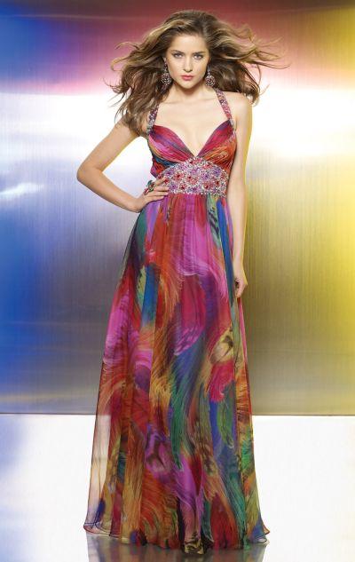 Flaunt Colorful Print Chiffon Beaded Prom Dress From Mori