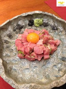 Tartar de usuzukuri de toro. Restaurante Kabuki