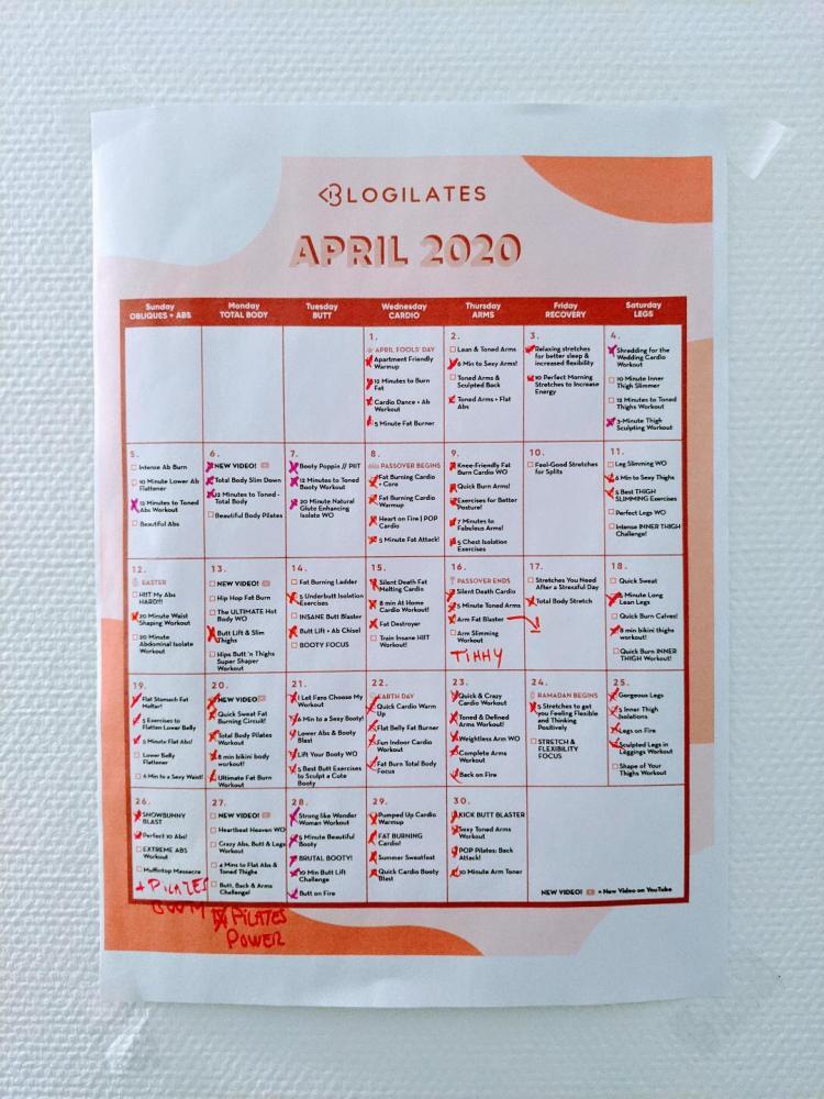 BLOGILATES 2 CALENDRIER