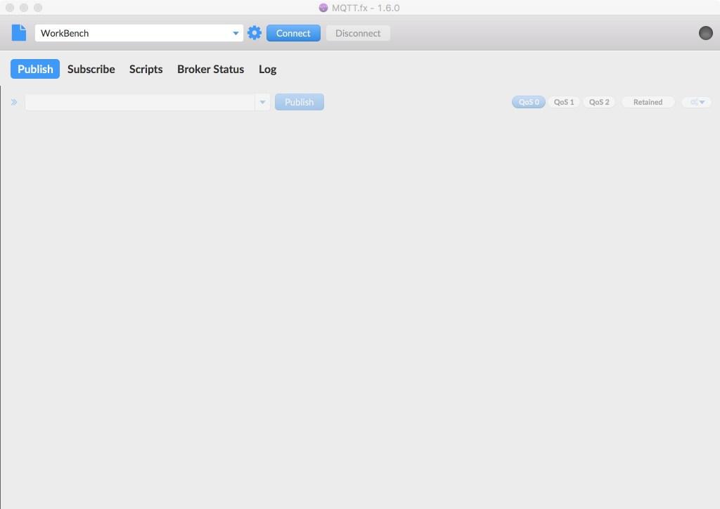 MQTTfx Schermata di avvio