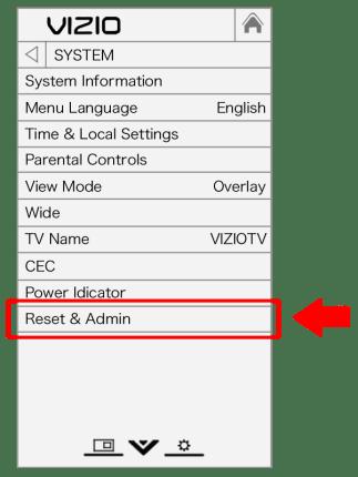 Vizio OSD Menu - System - reset and admin