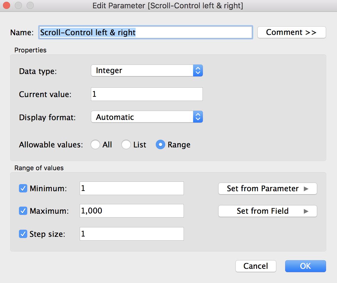 Create parameters