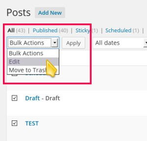 Select Bulk Edit to Quick Edit All Selected Posts Together