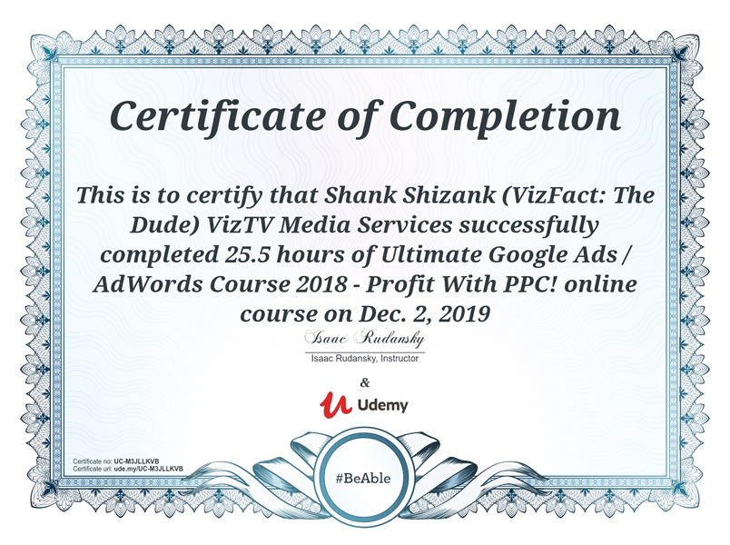 Google Adwords Course Completion