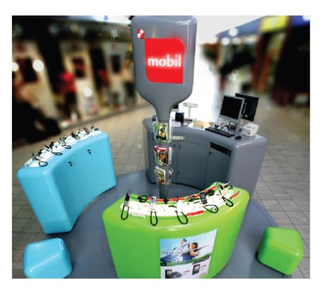 Retail kiosk designed and built for mobile operator Simobil Vodafone and virtual mobile brand M Mobil