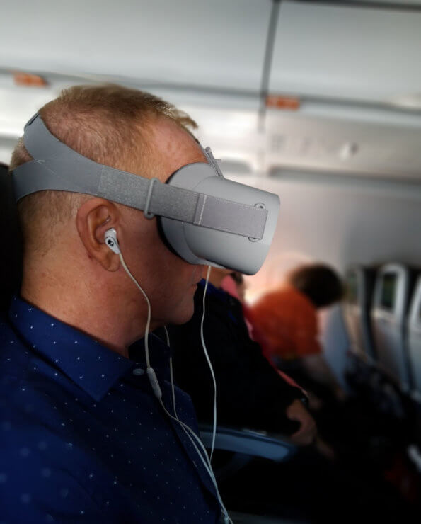 Meditating in VR with Chakra VR on a plane ride using the Oculus GO