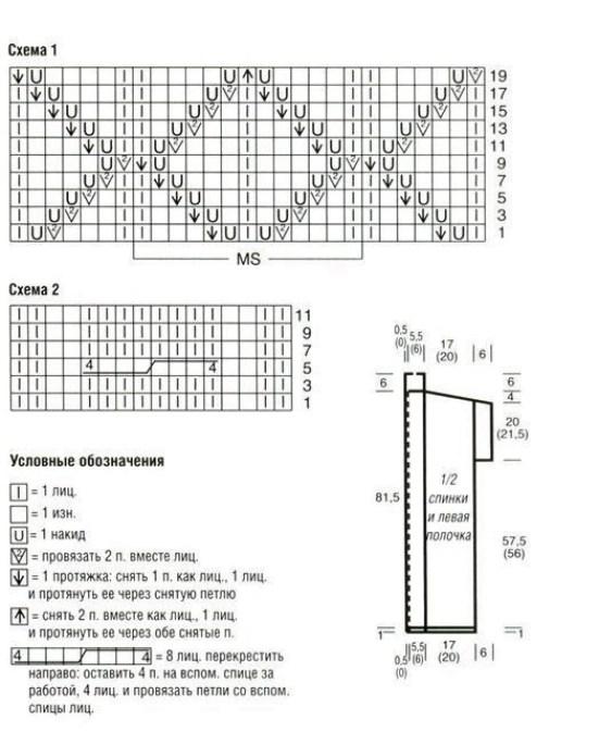 Схема узора и выкройка жилета