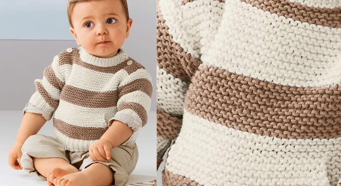 Пуловер в полоску для мальчика спицами