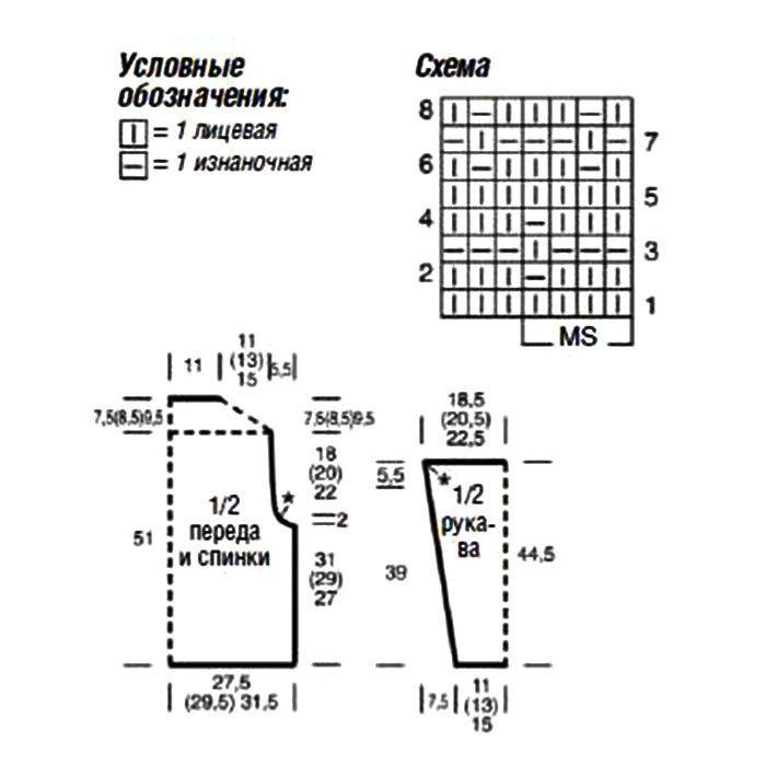 Выкройка джемпера и схема узора