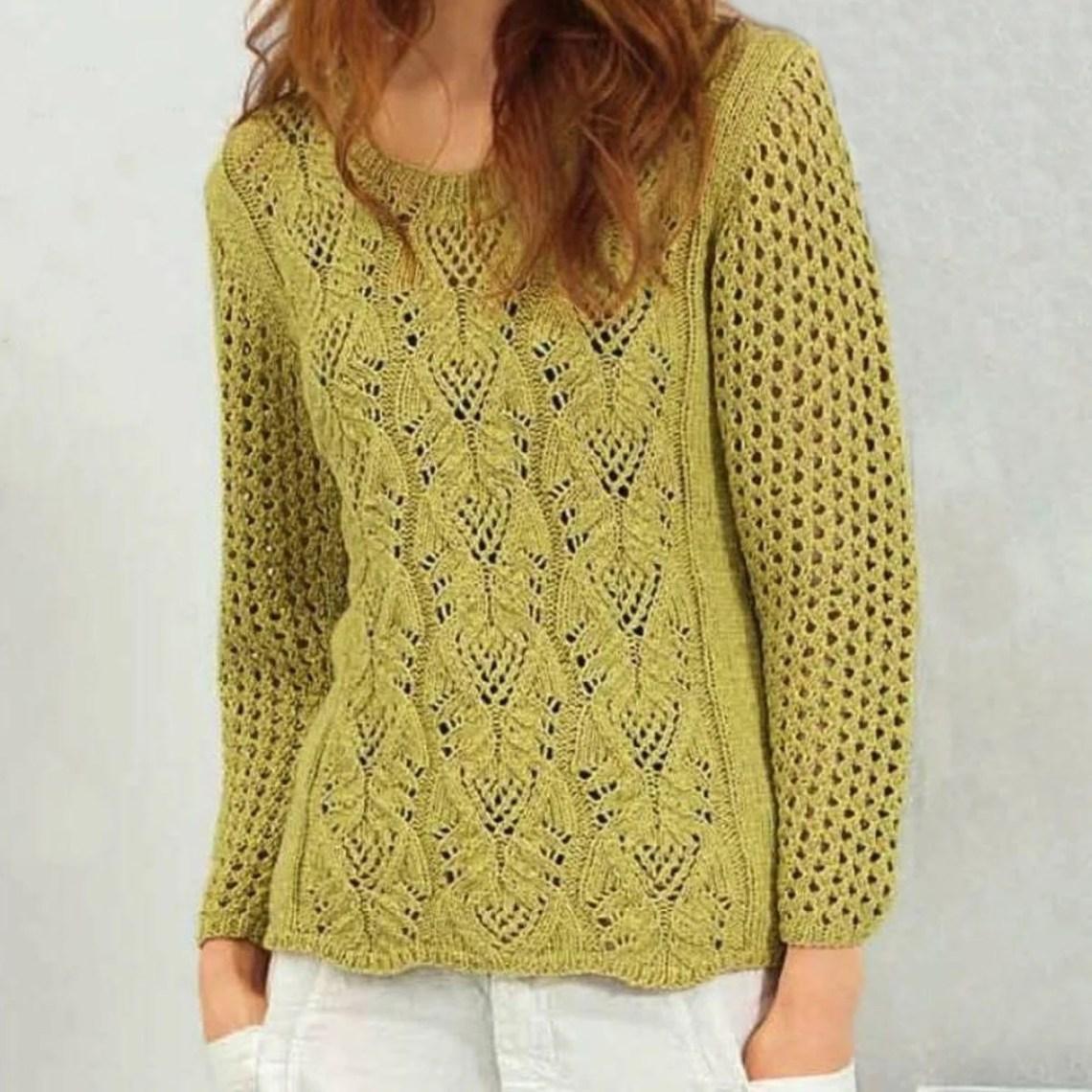 Пуловер цвета карри спицами