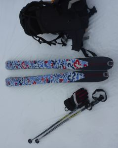 """Skins"" attached to the bottom of my skis"