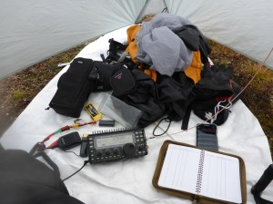 The operating position inside the tent on a Tyvek groundsheet