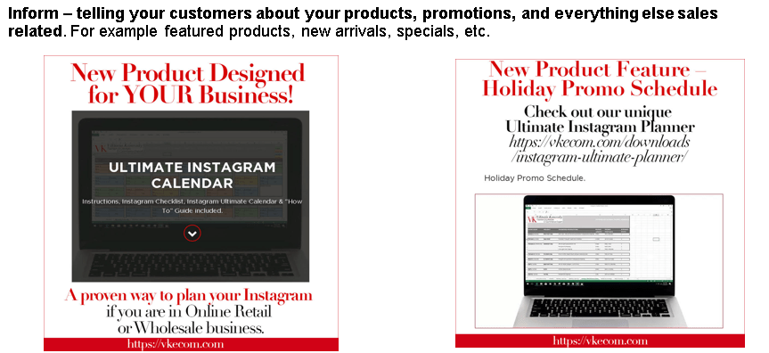 image shows examples of informing content for Instagram