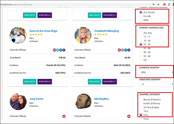 image showing how to search for youtubers on famebit platform