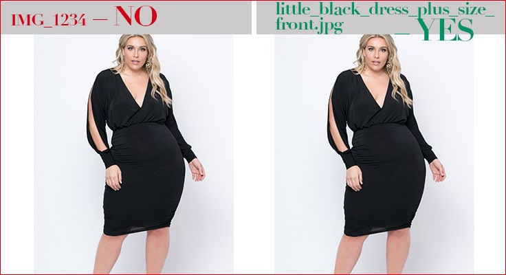image showing model in black dress and explains how to name files