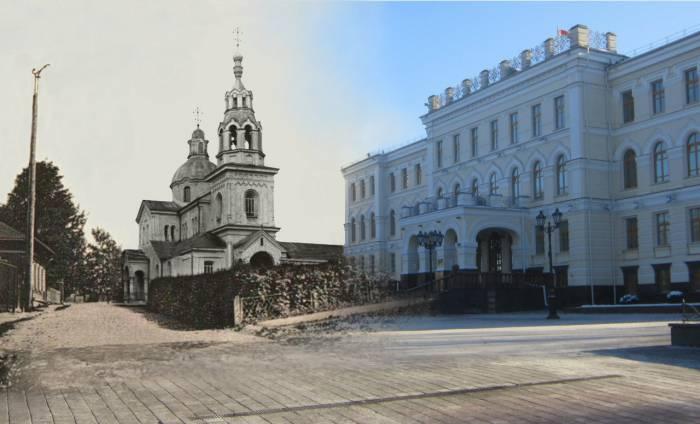 Церковь Святого Духа. Фотопроекция Виктора Борисенкова