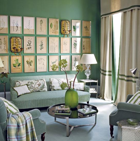 Green botanics on the wall
