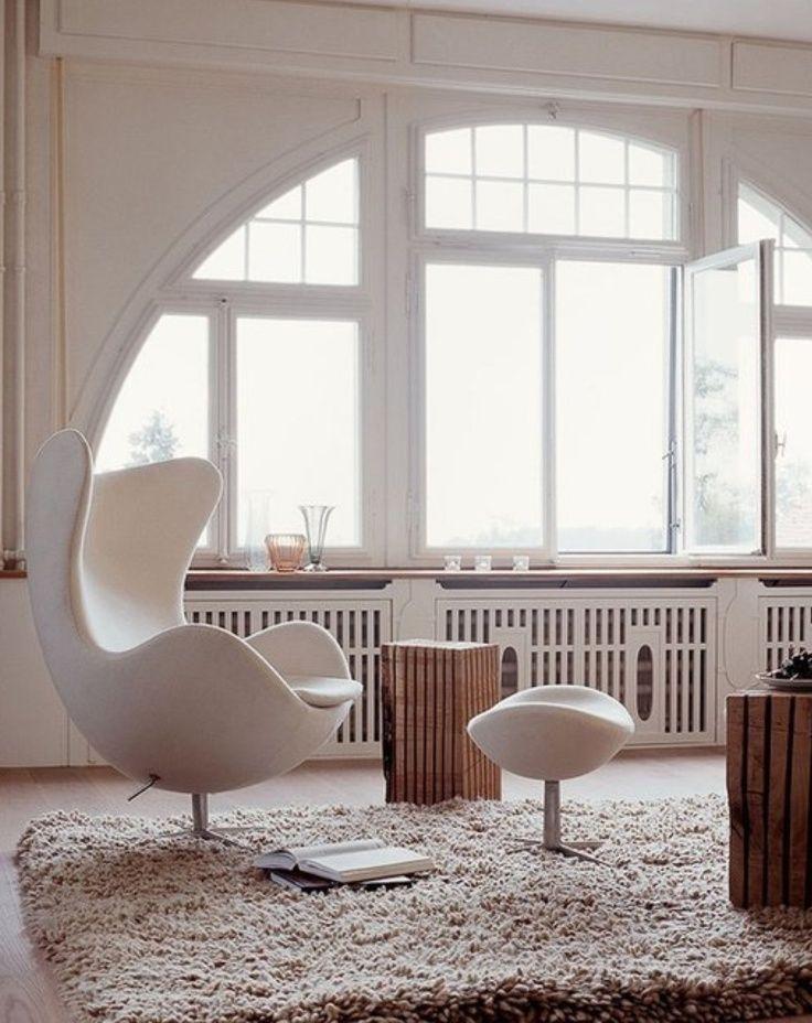 The elegant Egg chair, designed for the SAS Royal Hotel in Copenhagen
