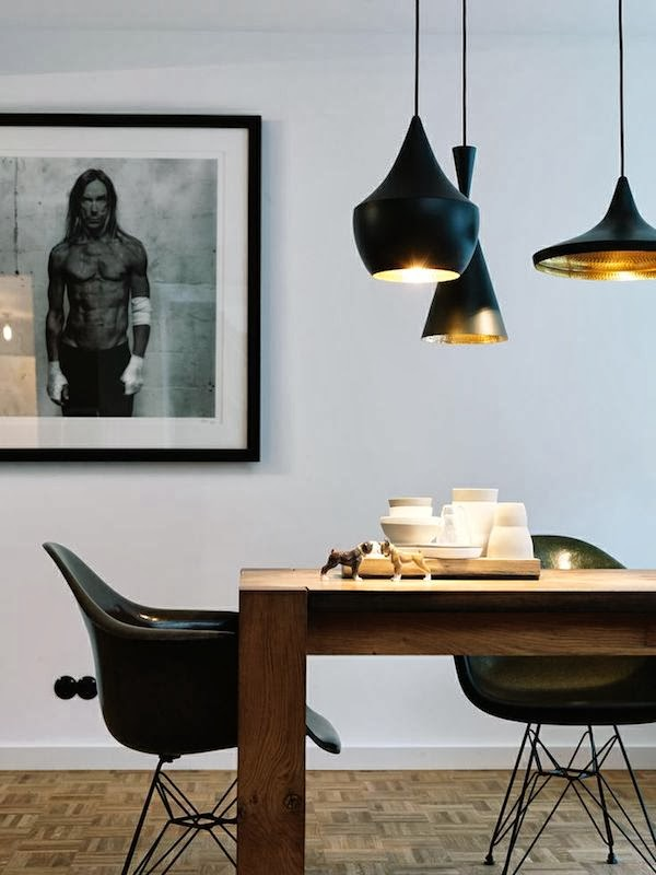 Tom Dixon lamps and Eames RAR chairs via Vosgeparis